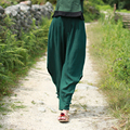 Personality Women Long Trousers 2016 Summer Pants Red Cotton Linen Cross Pants Green Loose Harem Pants Bottoms Pantalones Mujer