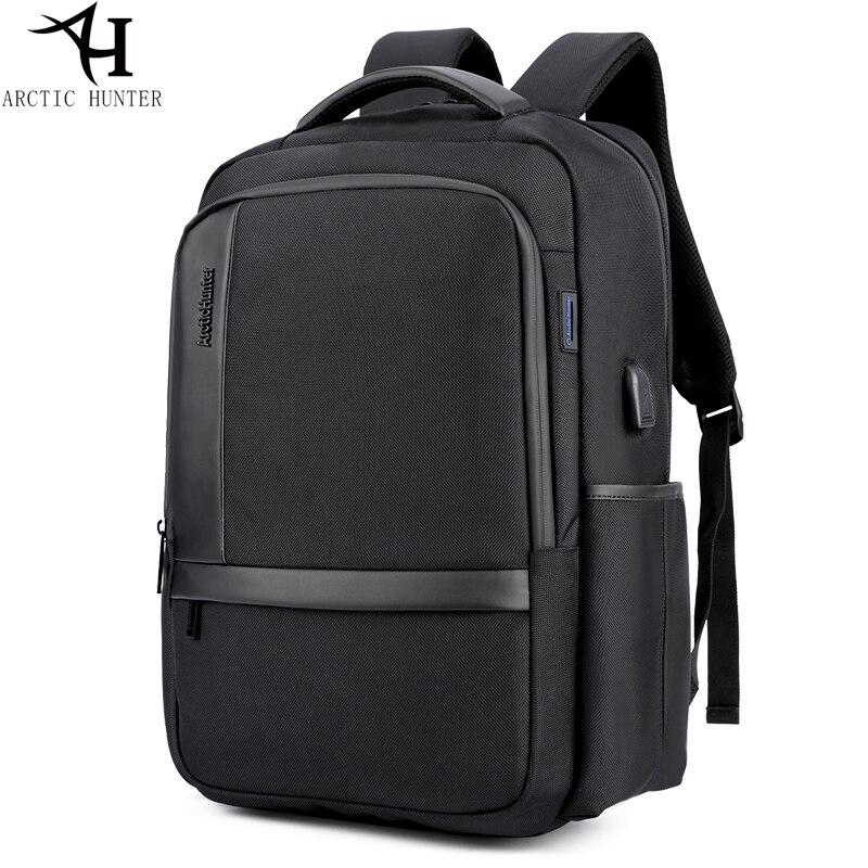 Black Men 39 s Shoulder Bag Laptop Bag Large Capacity Travel Bag External USB Charging Backpack Waterproof Nylon Backpack B00120 in Backpacks from Luggage amp Bags