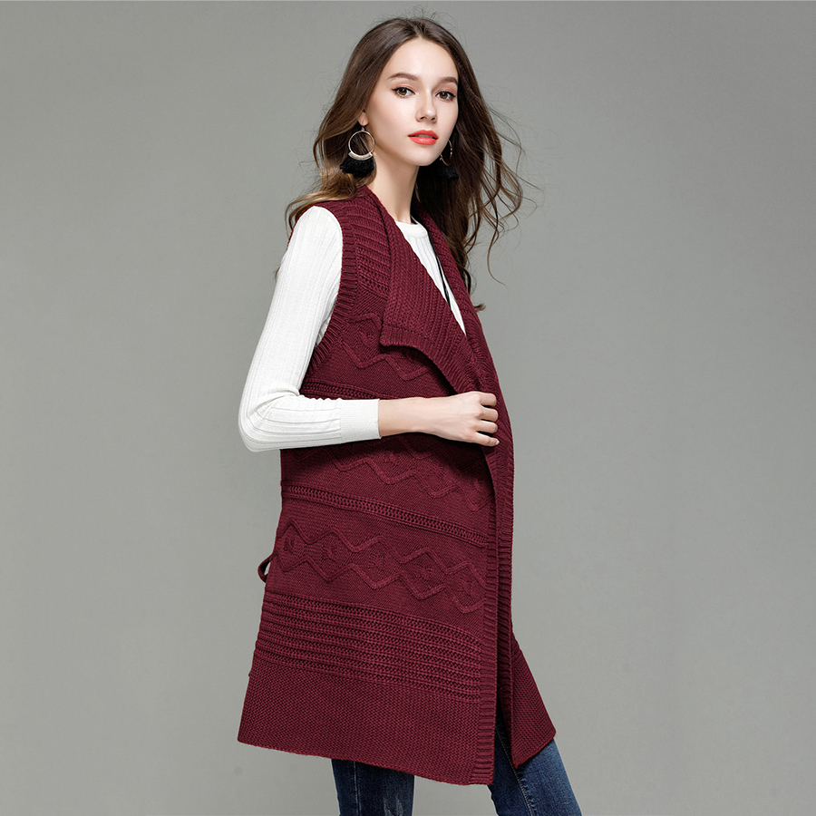 8f73c9d99f 2018 Autumn Winter Long Cardigan Women Knitted Vest Coat Hooded Casual  Sleeveless Veste Feme Cardigans Sweater Sashes-in Vests from Women s  Clothing on ...