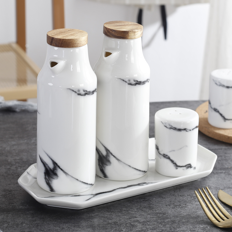 Marble Ceramic Oil Vinegar Sauce Pot Dispenser Soy Bottle