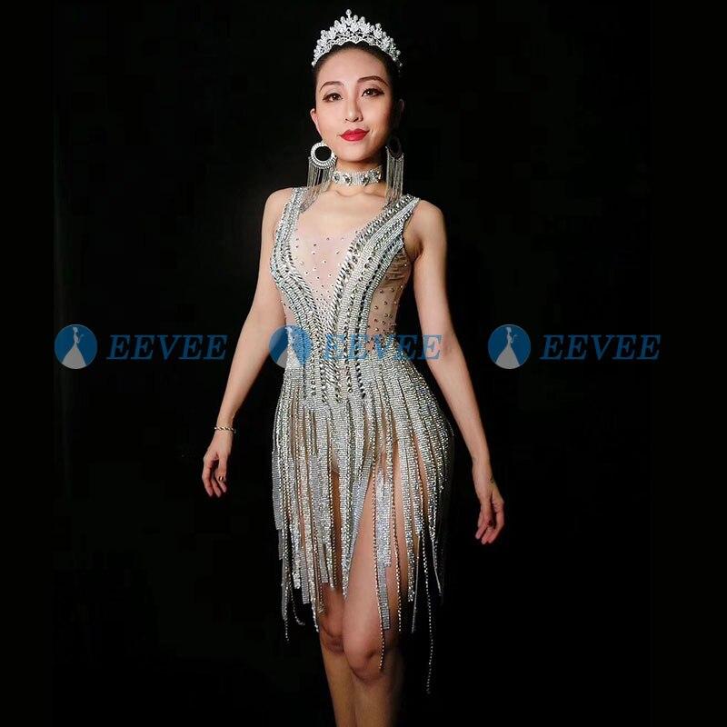 Bling Silver Rhinestones Fringes Bodysuit Birthday Celebrate Costume Female Singer Nude Perspective Leotard Stage Dance Wear