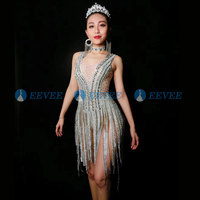 Bling Silver Rhinestones Fringes Bodysuit Birthday Celebrate Costume Female Singer Nude perspective Leotard Stage Dance Wear