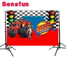 Виниловый фон для фотостудии Blaze Monsters Machine, светильник для гоночного автомобиля, грузовика, гоночного автомобиля, 220 см x 150 см