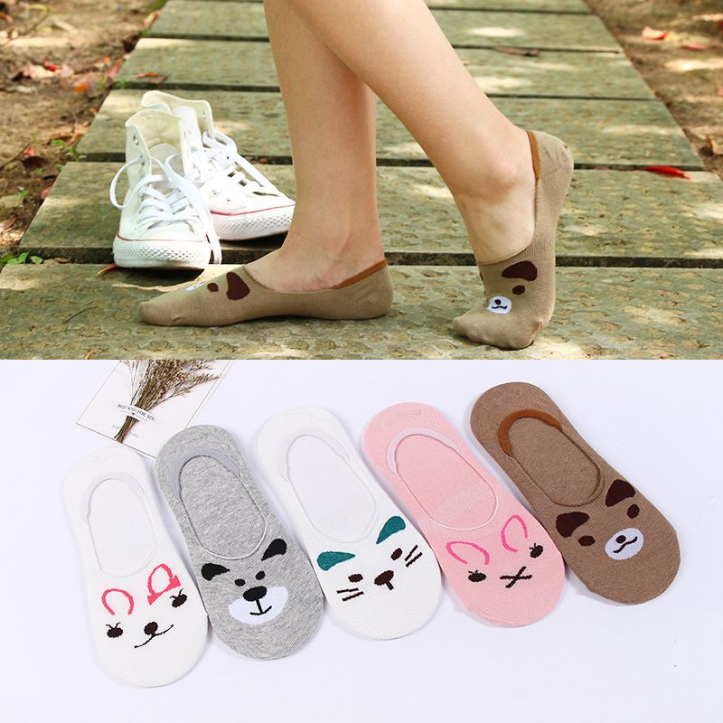 10Pairs Emboridory Cat Summer Stealth Super Shallow Mouth Invisible Socks Cotton Silicone non-slip For women Boat Quality Sock