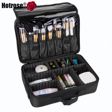 Hotrose Makeup Train Case 3 Layers Cosmetic Organizer Beauty Artist Storage Brush Box Cosmetics Cases with Shoulder Strap