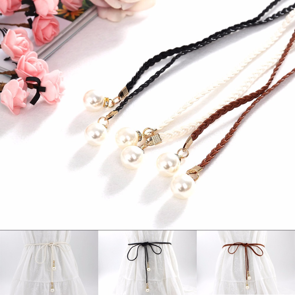 2018 Fashion Pearl Knited Belt New Women Lady Belt New Style Girls Hemp Rope Braid Female Dress Belt