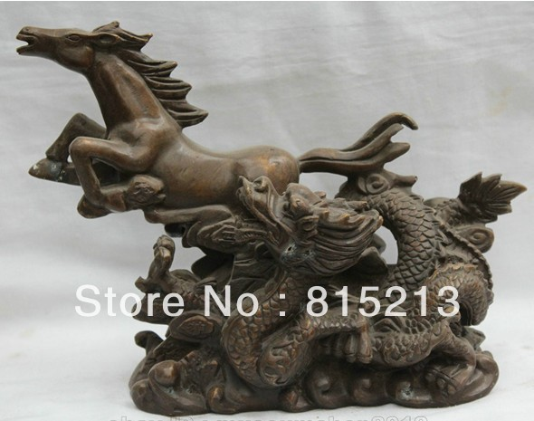 "wang 000130 10"" Chinese Folk Fengshui Bronze Money wealth Dragon and Horse Spirit Statue dragon dragon dragon statue statue dragon - title="