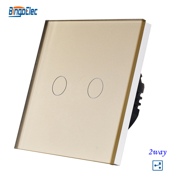 Top quality 2gang 2way Golden crystal glass panel Europe wall switch,touch screen light switch 2017 free shipping smart wall switch crystal glass panel switch us 2 gang remote control touch switch wall light switch for led