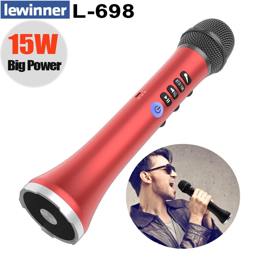Lewinner Professionnel micro pour karaoké haut-parleur portable sans fil Bluetooth microphone pour téléphone iphone De Poche Dynamique mic