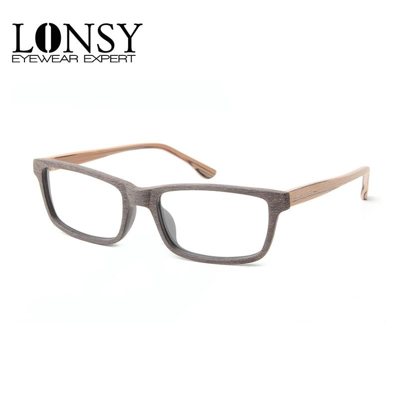 Lonsy Vintage Acetate Wood Optical Glasses Frames Brand Fashion