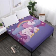 Unicorn Series Bed Sheets Cute Cartoon Print Fitted Sheet Girls Kids Sweet 100% Polyester Mattress Cover Home Decor D25