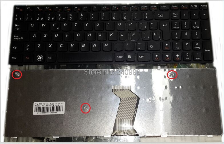 new laptop <font><b>Keyboard</b></font> for <font><b>Lenovo</b></font> IdeaPad B570G <font><b>B575</b></font> Z575 B590 V570 B570 Z570 B570A B570A SPAIN layout image