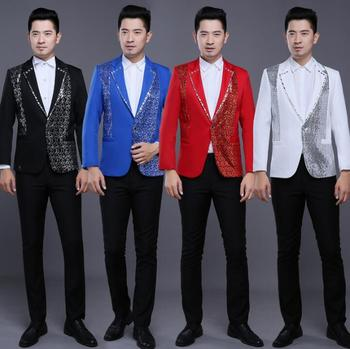 men suits designs masculino homme terno stage costumes for singers men sequin blazer dance clothes jacket style dress red white