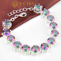 new 2016 ----Top sell  rainbow crystal bracelets for women wedding 925 sliver plated jewelry