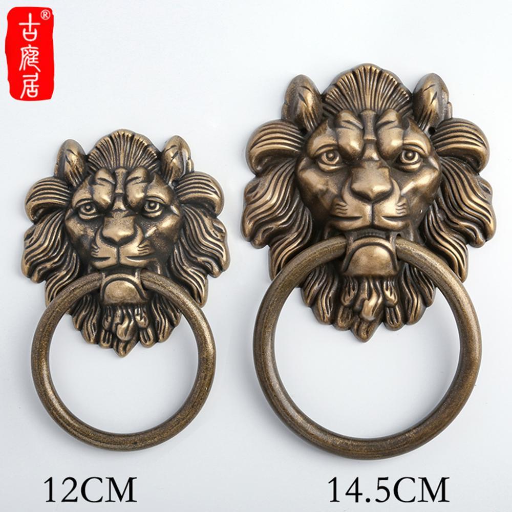 Antique mâle tête de lion poignée porte style chinois licorne bête tête porte anneau vintage porte dieu grande poignée