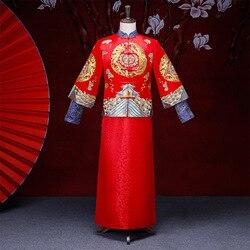 Vestido de novia chino tradicional Cheongsam suelto Vintage de novio rojo Vestido de satén Qipao bordado dragón traje Oriental para hombre