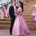 Rosa romântico Rendas Arábica Vestidos De Noivado Vestido de Noite Novos Vestidos de Baile Robe Orientale Dubai Oriente médio Vestidos Formais