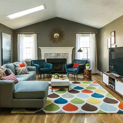 Table basse multicolore de salon de tapis de fibre de polyacrylonitrile d'épaississement de dianka piaochuang