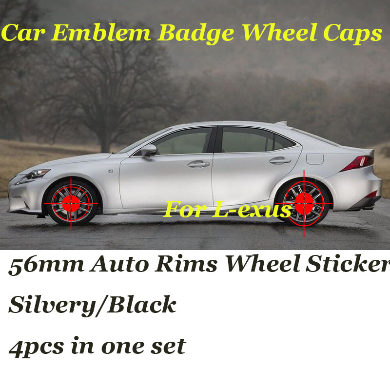 4PCS/SET 56mm Auto stickers For RX GS 300 400 430 350 450 h HS IS LS LX 570 ES Car Emblem badge Rims Wheel Covers Label