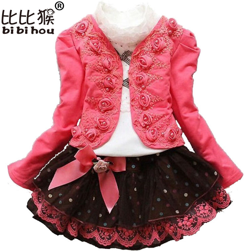 Winter Girls Christmas Dress clothing set Kids shirt + rose Coat + Lace skirt children clothing girl new year costumes Clothes retail design children clothing set for kids girl dark blue cardigan t shirt pink skirt high quality 2014 new free shipping