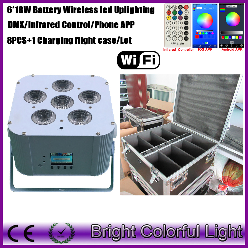factory sale wifi phone app smart par can wireless dmx battery operated led wash uplight for