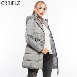 CRRIFLZ Klirens Zima Moda Ciepłe Zimowe Kurtki Kobiety