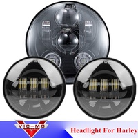 New Daymaker Projector Headlamp 7 Round LED Headlight With Fog Light 4 5 4 1 2