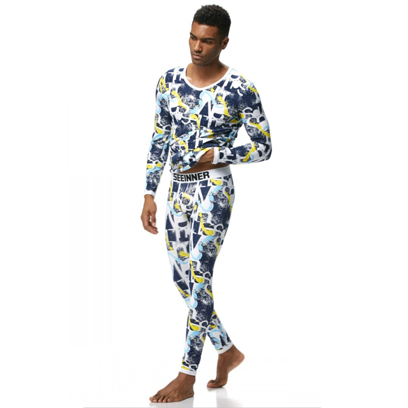 Men's Underwear Pure Cotton Printed Housewear Thin Basic Men's Warm Underwear Suits Long Johns(for A Set)