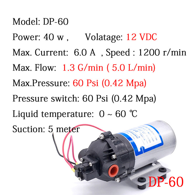 Automatic Switch Mini Water Pump DP-60 DC 12V 5L/min 4.2 Bar High Pressure Diaphragm Vacuum pumps RO system Car Washing Filter