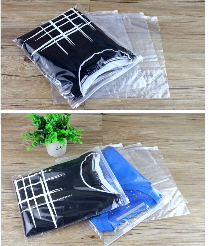 Print logo, 500pcs Clear Plastic Storage Bag Zipper Seal Travel Bags Zip Lock Slide Seal Packing Pouch For Cosmetic Clothing