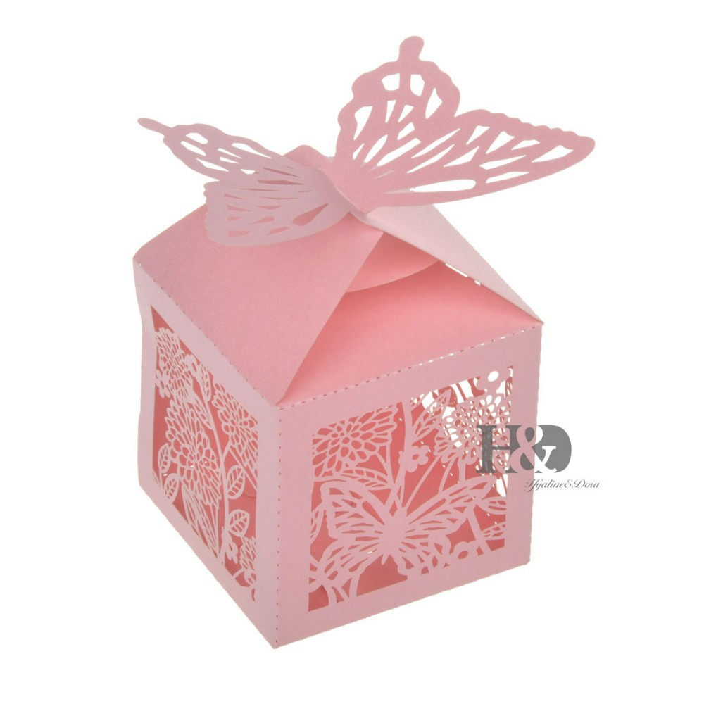 Laser Cut Hollow out Pink Butterfly Paper Ribbon Candy Box Party ...