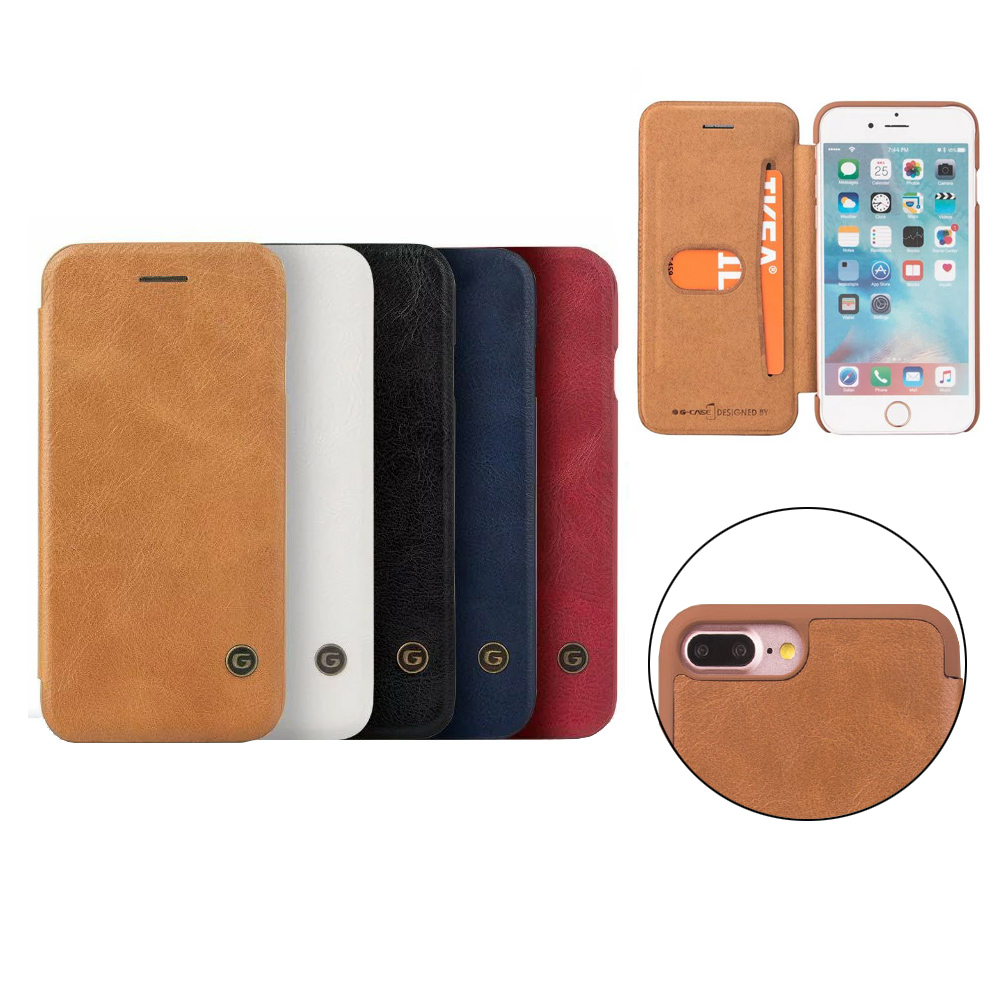 GCase Luxury PU Leather Wallet Design For iPhone 7 Plus Case Flip Cover With Card Holder Back Cover Phone Case For iPhone 8 Plus