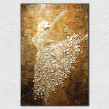 Handmade with palette knife oil on canvas ballet dancer oil painting for wall decoration