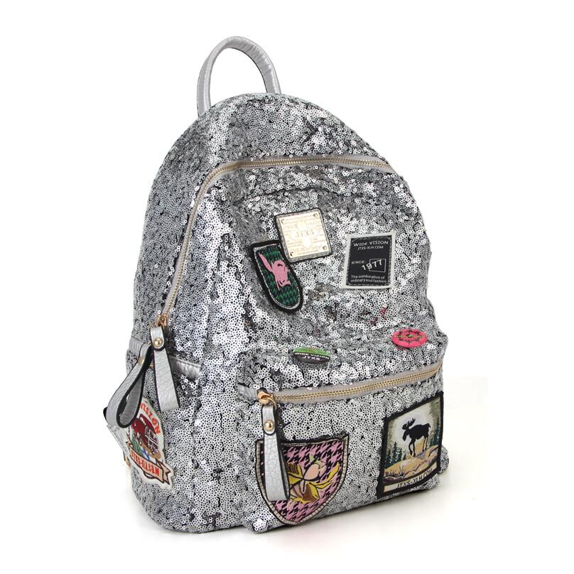 Free shipping Japanese and Korean fashion Medal badge embroidered sequins beads fashion casual backpack