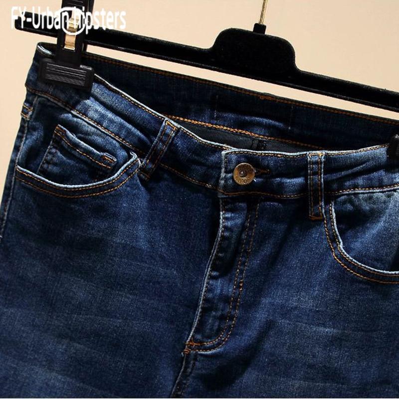 Tobillo Lápiz 2018 Ripped Cintura Hole Mujeres De Blue Más Estiramiento 8901 Jeans Denim Irregular El longitud Tamaño Pantalones Mediados Casual Nueve wrvCqpxwO