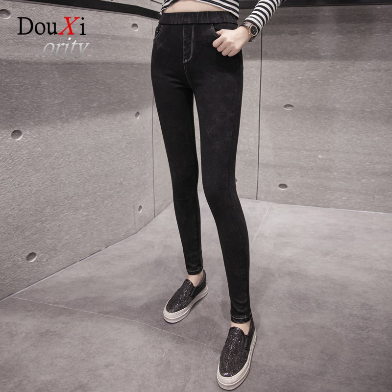 2017 Women Jeans Pants High Elastic Waist Tight Black Stretch Skinny Slim Hip-up Pencil Pants Thick Female Denim Trousers free shipping wild cat limited edition vintage pin up skinny pencil pants high waist hip up cotton denim pants women slim jeans
