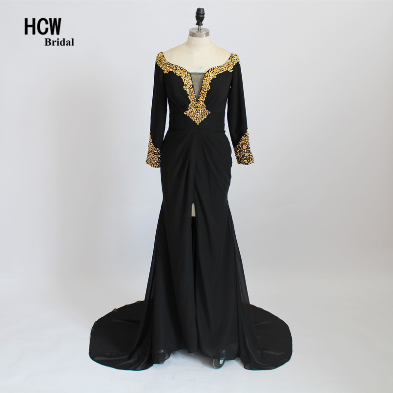 Black Long Sleeve Prom Dresses With Gold Crystals Front Slit Floor Length Arabic Party Gowns Real Photos Mermaid Prom Dress