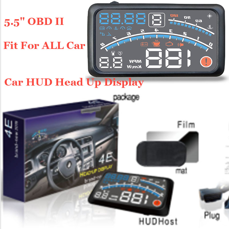 Good Quality Fit For All Car 1pcs Auto head up display lights 5.5 Car OBD2 II EUOBD Car HUD Head Up Display projector lamp universal 3 5 car hud a3 head up display with obd2 interface