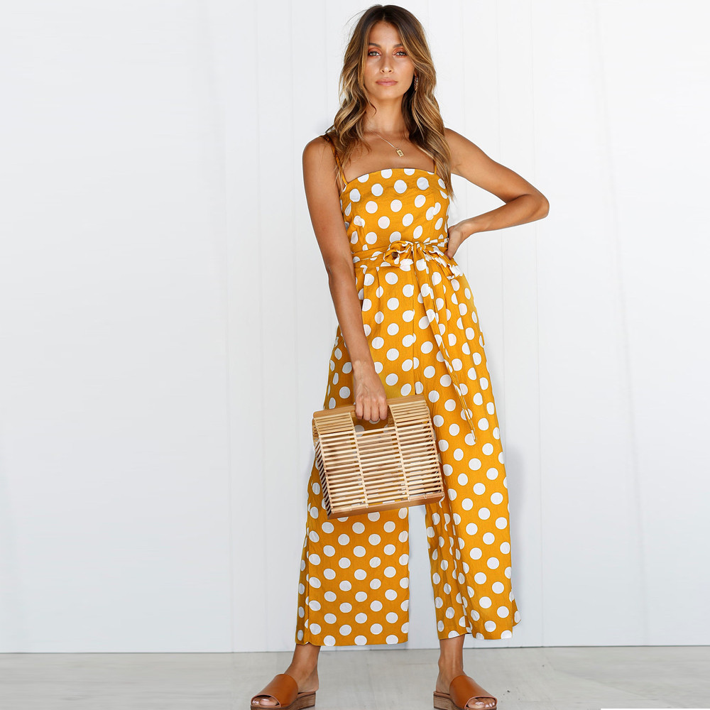 Strappy Womens vintage Jumpsuit Polka Dot Holiday beach party Wide Leg Pants office Long Jumpsuit Backless Strappy Playsuit