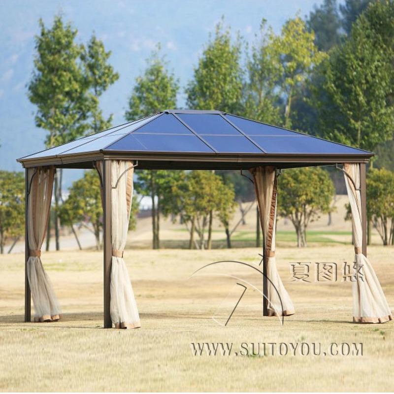 336 meter newport hardtop garden gazebo outdoor tent canopy aluminum sun shade pavilion furniture house with sidewalls - Sunjoy Gazebo