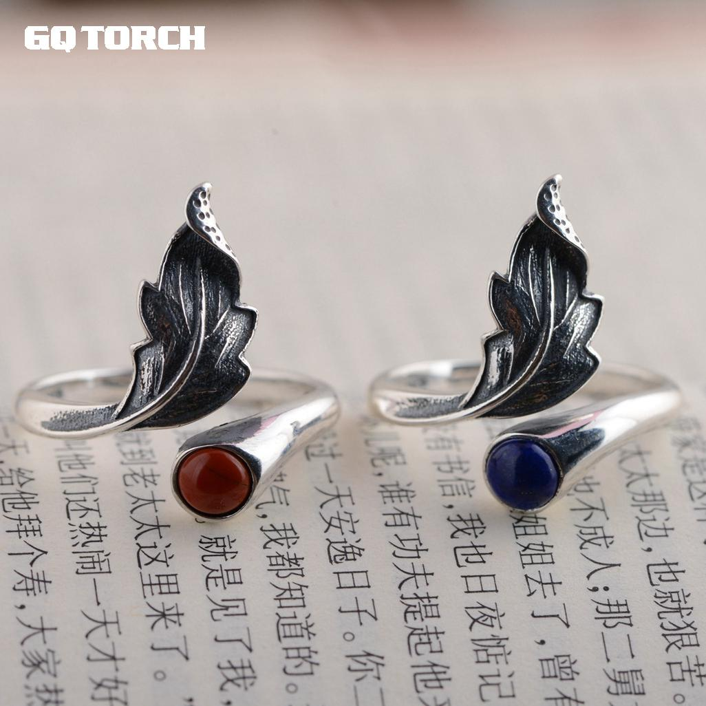925 Sterling Silver Rings For Women With Natural Stone Lapis And Red Onyx Opening Type Feather Rings Thai Silver Process