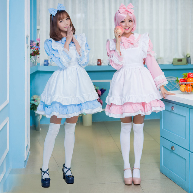 9a1ec8598ab8a Woman Cosplay Alice In Wonderland Blue Dress Cute Lolita Maid Apron Pink  Dress Lace Up Bow Big Swing Dress Party