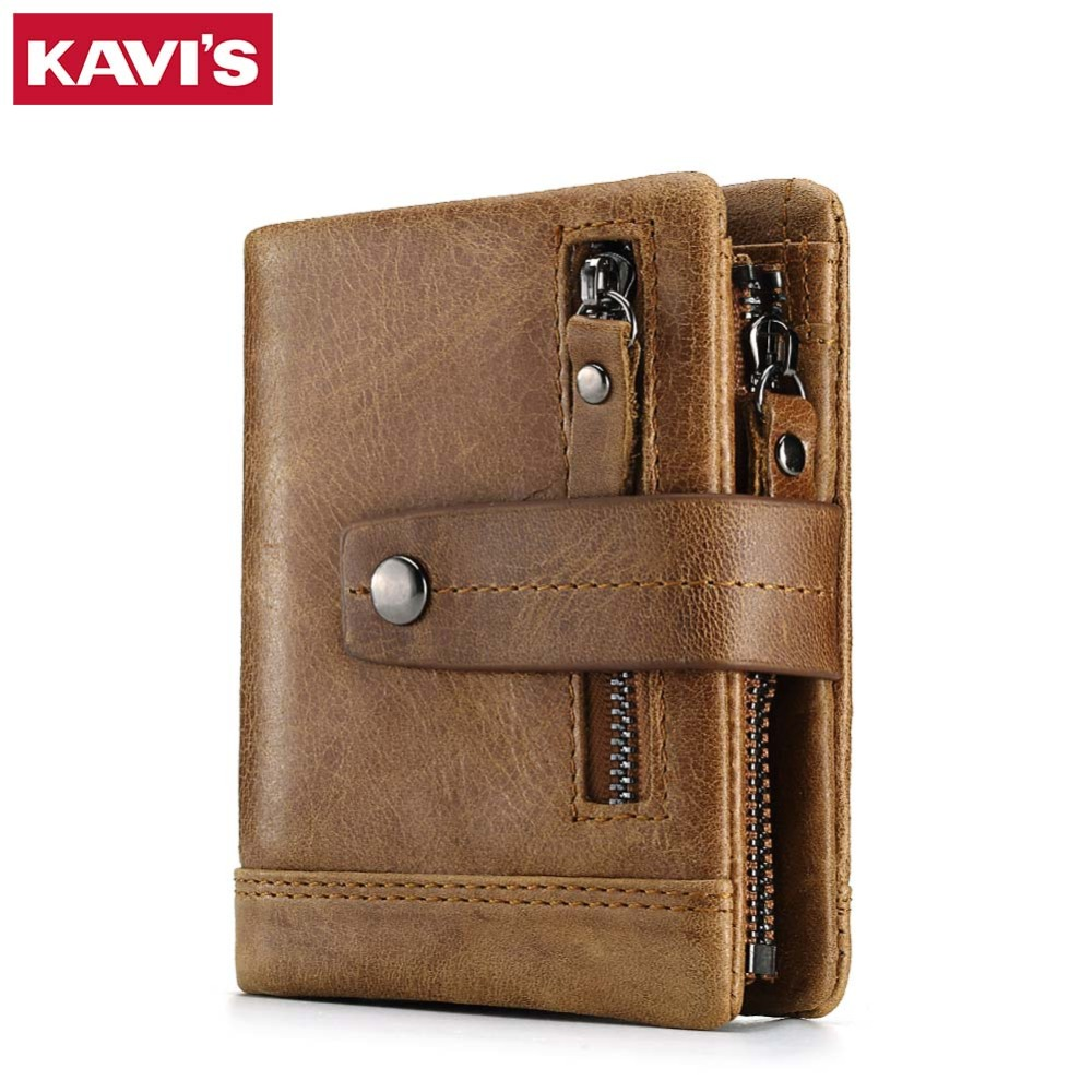 KAVIS Genuine Leather Wallet Men PORTFOLIO Male Small Portomonee Vallet Coin Purse Slim Rfid Fashion Mini Walet and Card Holder
