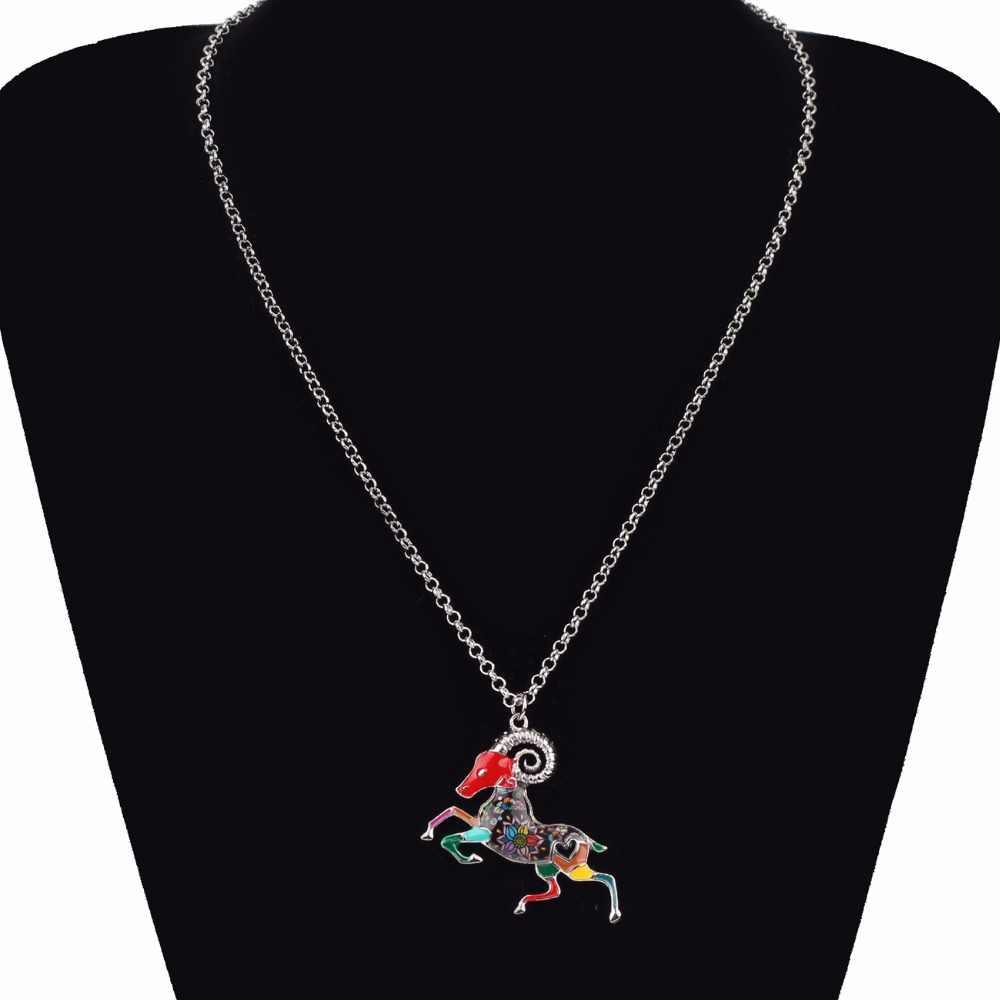 Bonsny מקסי הצהרת קולר שרשרת שרשרת מזלות טלה מזל סגסוגת מתכת תליון האופנה ניו עיזים תכשיטי אמייל לנשים