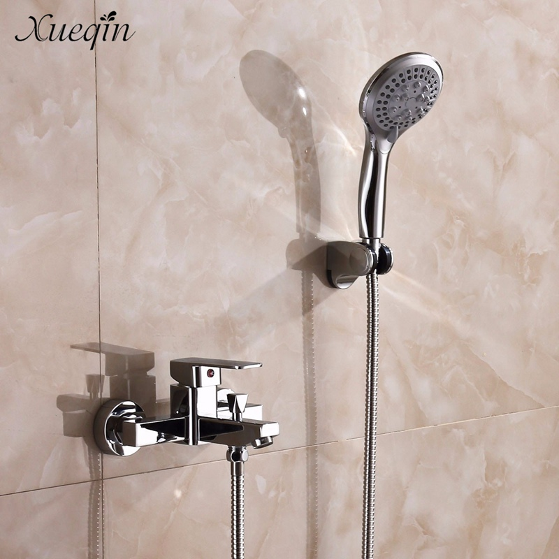 Xueqin Brass Bathroom Hot&Cold Shower Sets Mixer Tap Faucet Wall Mounted Bathtub Shower Faucet Taps Kits Hose sognare new wall mounted bathroom bath shower faucet with handheld shower head chrome finish shower faucet set mixer tap d5205
