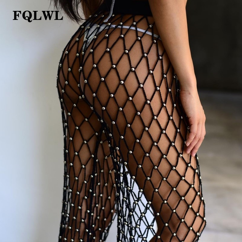 FQLWL Bead Crochet Black   Wide     Leg     Pants   Women Hollow Out Transparent Elastic High Waist Loose   Pants   Beach Summer Ladies Trousers