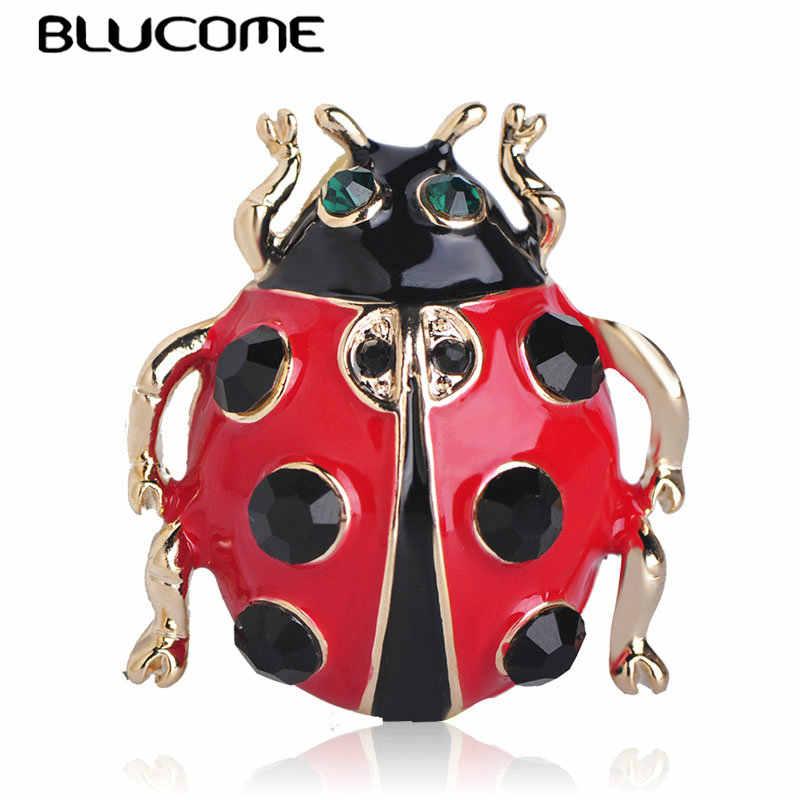 Blucome Bella Occhi Verdi Rosso Dello Smalto Beetle Coccinella Spille a Forma di per Le Donne Vestiti Del Capretto Del Cappotto Sciarpa Spilla Spille Accessorio Dei Monili