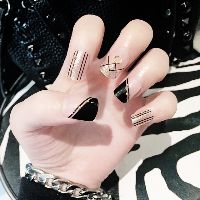 black fashion false nails French luxury nail patch nail art 24pcs ...