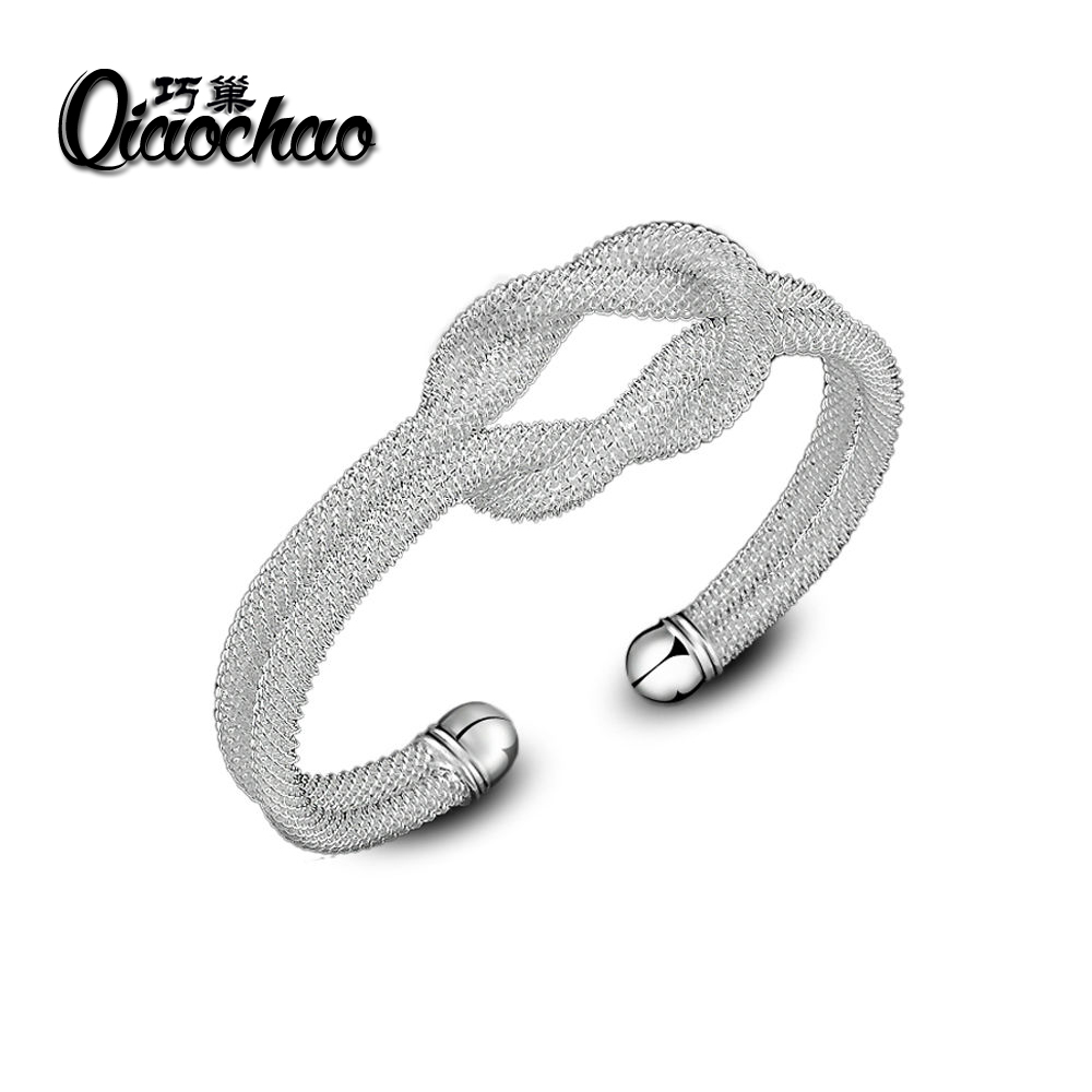 silver plated bangle knotted net Cuff Bracelet good package wholesale Z03