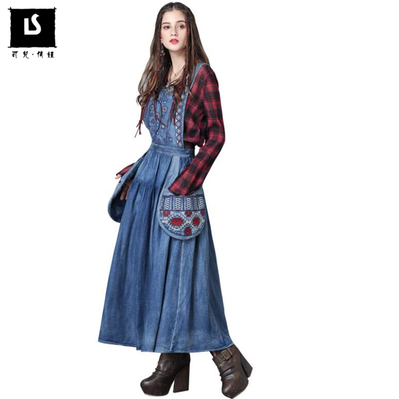 New 2018 Autumn Women Elegance Large Pocket decorative Vintage embroidery Dress Women Casual Sleeveless Strap Denim